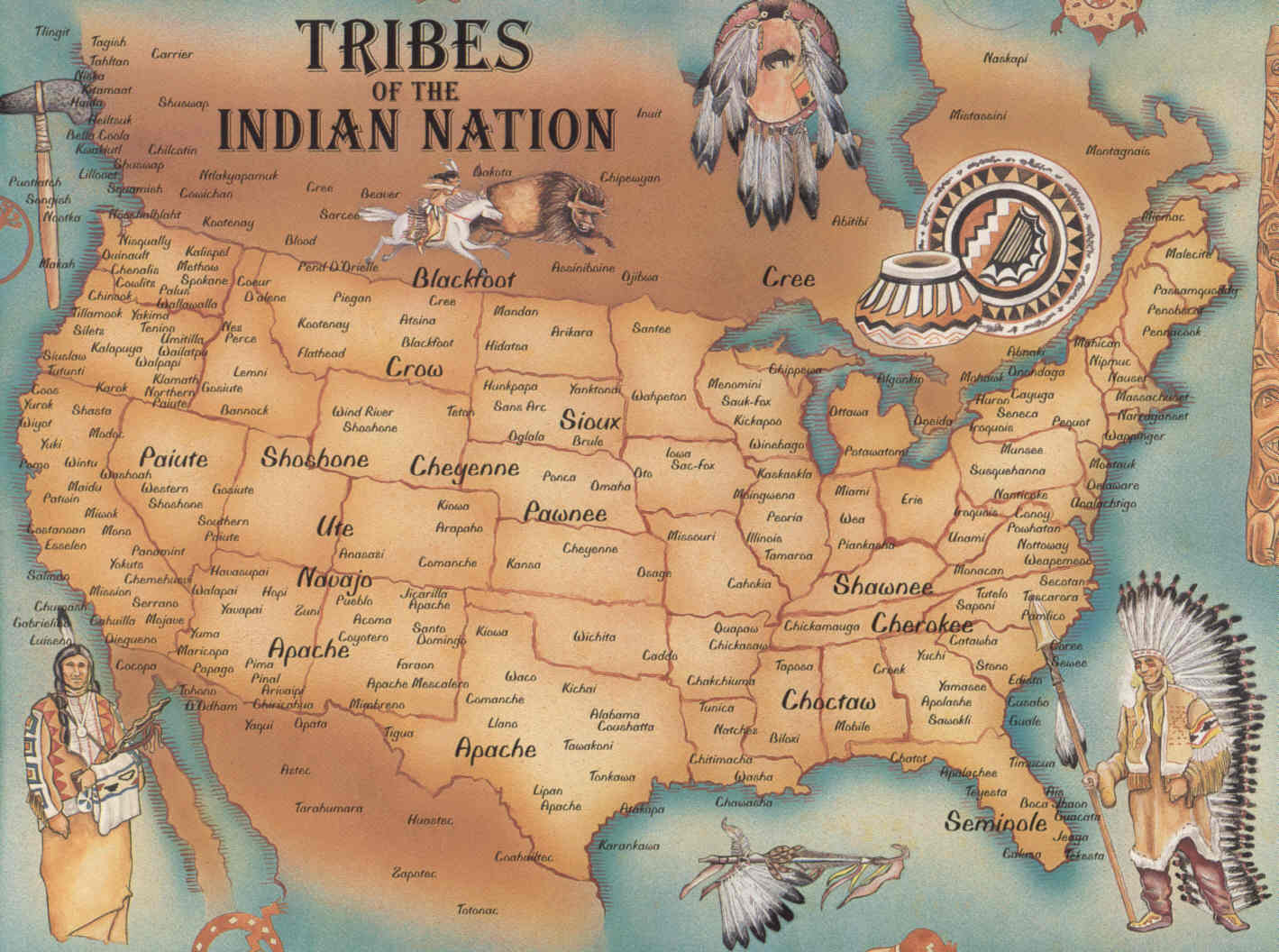 Map of Native American Tribes in America