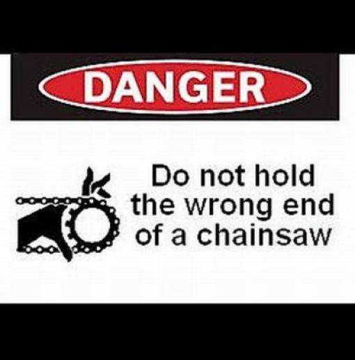 warning chainsaw
