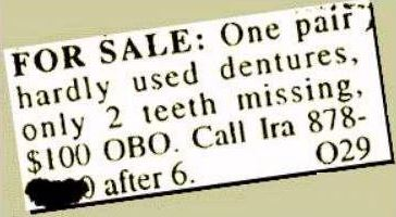 classified ad teeth