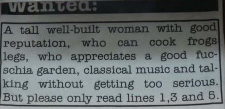 funny classified ad wanted