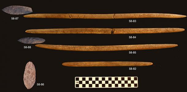 Stone-projectile-points-and-decorated-antler-rods